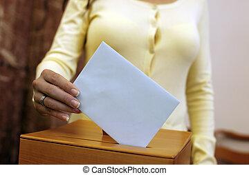 mujer, votación, cabina