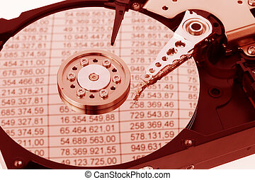 A computer hard drive. Bookkeeping - The hard disk of a...