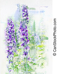 Watercolored delphinium - Illustration of watercolor...