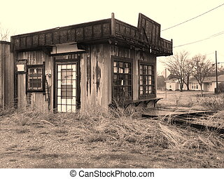 Old West General Store - Sepia image of abandoned general...