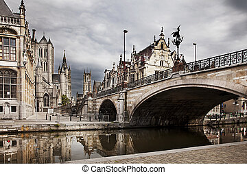 Ghent, Belgium - The historical city core of Ghent, Belgium