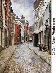 Streets of Maastricht, Netherlands. Made in artistic vintage...