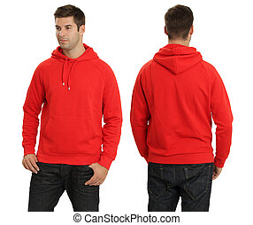 Male wearing blank red hoodie - Young male with blank red...