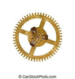 cog wheel on white background - Detail of the part of...