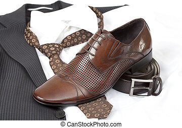 formal wear and shoes - Formal wear with belt and brown...