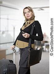 terhes, nő, utazó
