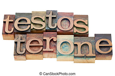 testosterone word in letterpress - testosterone - isolated...