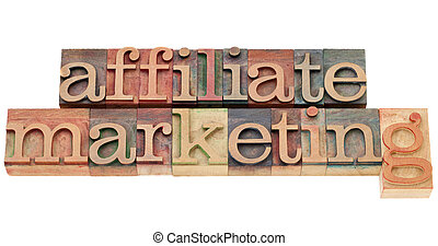 affiliate marketing - isolated text in vintage wood...