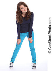 Happy teenager school girl fun in blue jeans - Beautiful...
