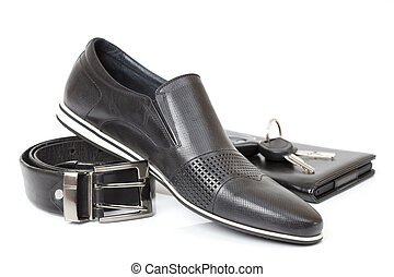 Black male shoe - Business accessories paired with a black...