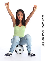 Teenage sports girl celebrates soccer success