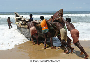 Indian fishermen - KERALA - OCTOBER 14, 2006: Indian...