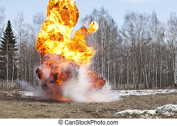 Fireball - Explosion in action with fire ball and smoke