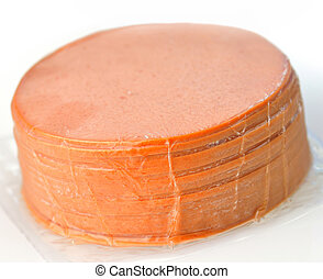 sliced bologna - bologna in a vacuum package close up