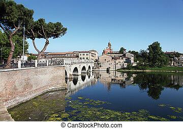 Tiberius Bridge Rimini, Italy - Historical roman Tiberius...
