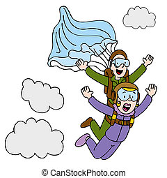 Tandem Sky Diving Woman - An image of a woman doing a tandem...