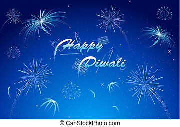 Diwali Wish - illustration of diwali wish with firework in...