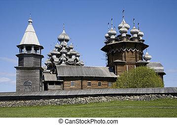 Wooden town Kizhi, Russia - Ancient wooden town Kizhi in...