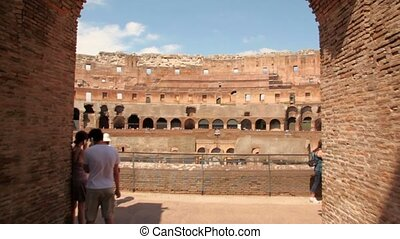 Camera move inside Colosseum and show arena, start from...