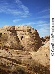 Petra city - Interesting round shaped dwelling in Petra,...