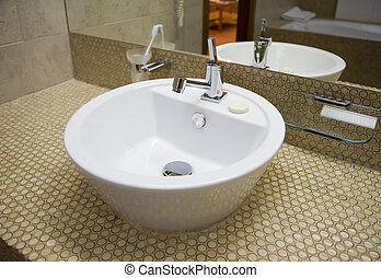 White sink in bathroom