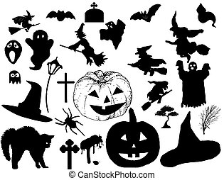 halloween silhouettes - vector collection of halloween...