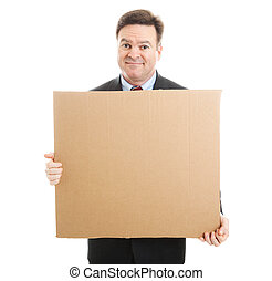 Embarrassed Businessman with Cardboard Sign