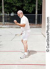 3º edad, hombre, juego, ataque,  Racquetball