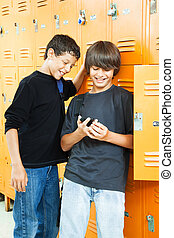 Teen Boys with Video Game - Teenage boys playing video games...