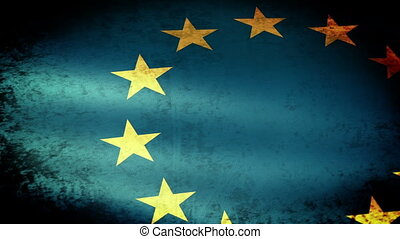 European Union Flag Waving, grunge look