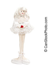 Ballerina rag doll with red roses in her hands