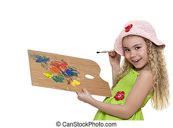 Girl painter - Beautiful girl with paintbrush and palette...