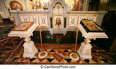 View goes from floor to roof inside orthodox church - View...