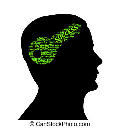 Silhouette head - Key to success - Silhouette head with a...