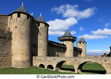 Carcassonne - Image of wall and towers in Carcassonne...