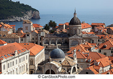 Over the roofs of medieval town Dubrovnik in Croatia