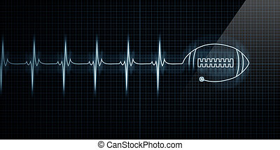 Heartbeat Monitor with football - Horizontal Pulse Trace...