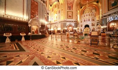 Overview of richly ornamented hall inside Cathedral of...