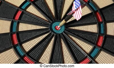 Arrow hit bullseye center on new rotating dartboard