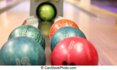 ball was rolled out, bowling balls lie in bowling club -...