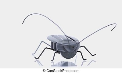 Artificial ant stand on mirror base, composition rotates