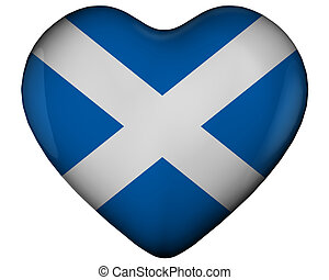 Heart with flag of scotland - Illustration of heart with...