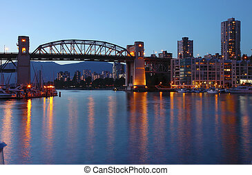Burrard bridge at dusk Vancouver BC.,Canada. - The Burrard...