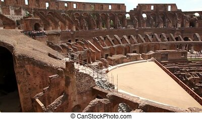 Coliseum around, arena and tunnels under it, levels and...
