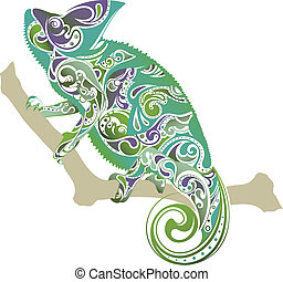 Chameleon - Illustration of abstract Chameleon isolated on...