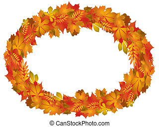 Autumn - Illustration with round frame of autumn leaves