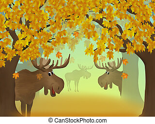 Autumn forest - Illustration of autumn forest and moose