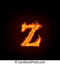 fire alphabets, small letter z - fire alphabets in flame,...