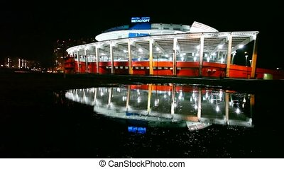 Palace of Sports Megasport at night - MOSCOW - MARCH 28:...