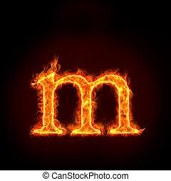 ogień, Abecadła, Mały, litera, M